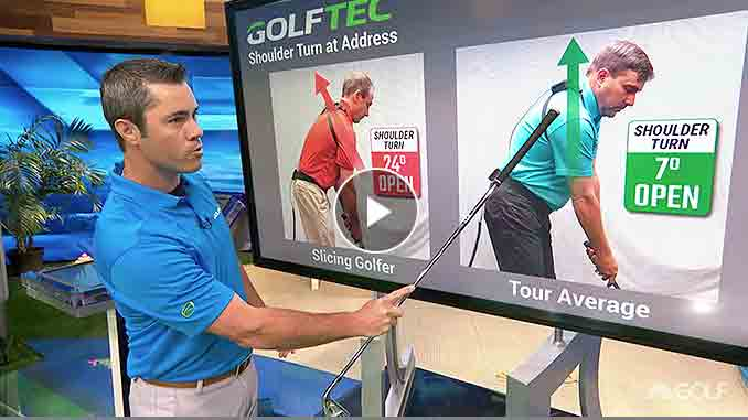 Patrick Nuber explains how shoulder turn at address can cause a slice - and how to fix it.